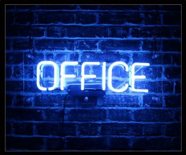 Office in Blue Neon Sign